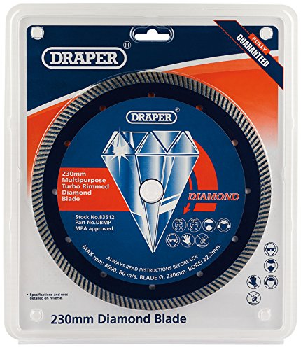 Turbo Rim Diamond Blade (DRAPER Tools DBMP Mehrzweck Turbo Rim Diamond Blade, blau, 230X 22,2mm)