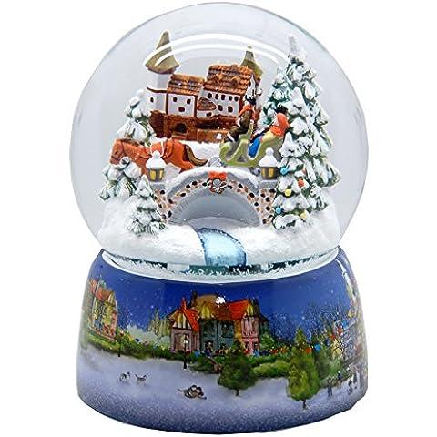 20067 Mega-Palla di neve nostalgico corsa in slitta di base in porcellana Mercatino di Natale 150 mm di diametro Snowmotion e musica scatola