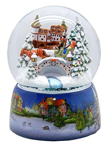 30012 Mega-Boule á neige nostalgique promenade en traîneau base en porcelaine marché de Noël 150 mm Diamètre Snowmotion et boîte à musique
