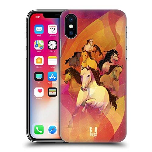 Head Case Designs Hipster Lanno Del Cavallo Cover Retro Rigida per Apple iPhone X 8 Galoppa
