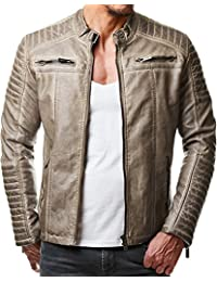 50c08bab732ed Red Bridge Men's Faux Leather Genuine Jacket Transition Biker Ribbed Fashion  Cotton Coats