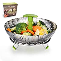 """Vegetable Steamer Basket Stainless Steel Food Steamer Veggie Steamer Insert with Extendable Handle, Cooking Steamer Expandable to Fit Various Size Pot (7"""" to 11"""")"""