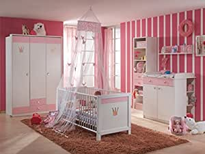 babyzimmer kinderzimmer cinderella 7 teilig wei rosa. Black Bedroom Furniture Sets. Home Design Ideas