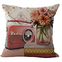 Chezmax misto lino, fotocamera e telefono modello cuscino federa copricuscino in cotone 45,7x 45,7cm, Radio, WITH FILLER