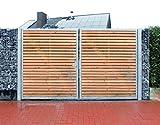 Einfahrtstor / Einbau-Breite 200cm / Einbau-Höhe 180cm / 2-flügelig / Holz-Füllung / Symmetrische Aufteilung / Verzinkt / Holz Tor Gartentor Holztor