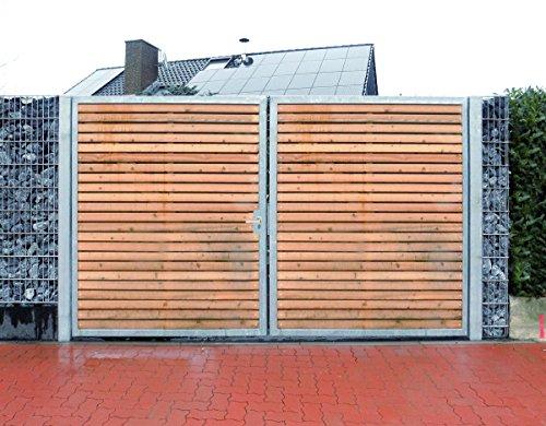 Einfahrtstor / Einbau-Breite 450cm / Einbau-Höhe 180cm / 2-flügelig / Holz-Füllung / Symmetrische Aufteilung / Verzinkt / Holz Tor Gartentor Holztor