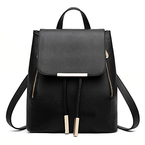 Sacchetto di spalla dello zaino delle signore delle ragazze delle donne delle donne del zaino del sacchetto di spalla di Myleas Nero