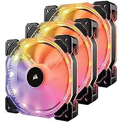 Corsair HD120 RGB LED Ventola da 120 mm, lluminazione a LED RGB Programmabile, Confezione Tripla con Controller di Illuminazione