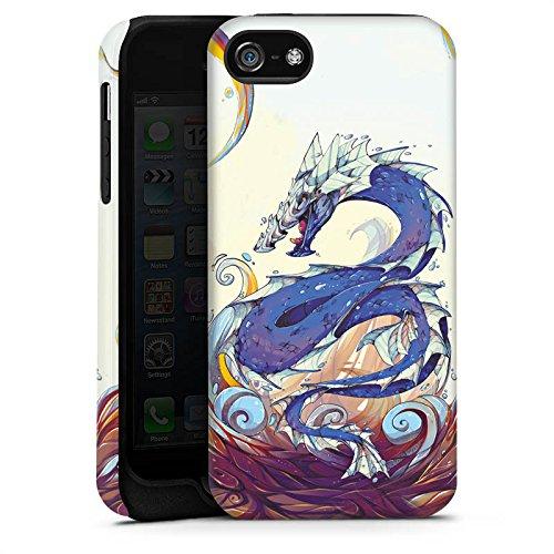 Apple iPhone 5s Housse étui coque protection Dragon Eau Water Cas Tough terne