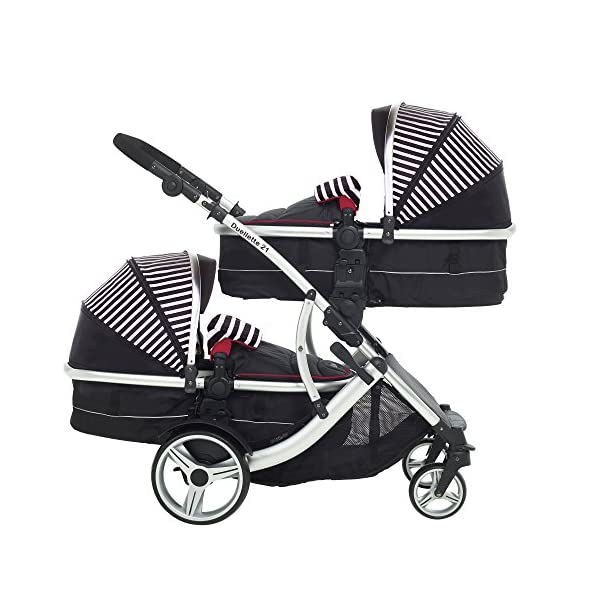 Kids Kargo Duellette Combi Tandem Double Twin pushchair (Oxford Stripe) for Newborn Twins Kids Kargo Fully safety tested Compatible with car seats; Kids Kargo, Britax Baby safe or Maxi Cosi adaptors. Versatile. Suitable for Newborn Twins:  carrycots have mattress and soft lining, which zip off. Remove lining and lid. 2