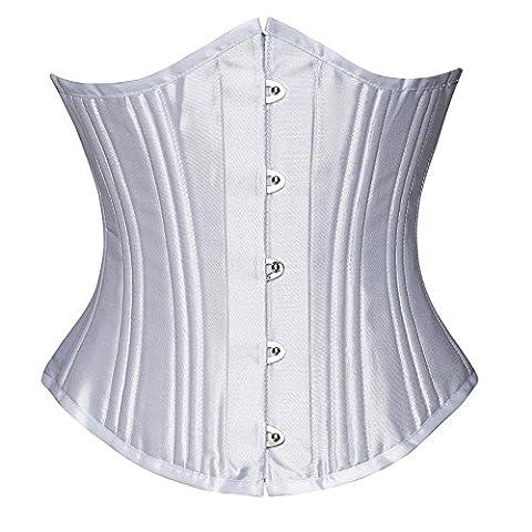 FeelinGirl Damen 26 Stahlstäbchen Corsage Unterbrust Satin Lace Up Waist Cincher korsett top Shaper Korsage (M, Weiß mit 24 Staäbchen)