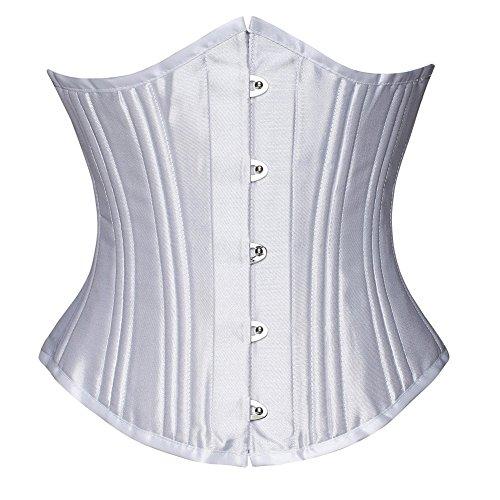 (FeelinGirl Damen 26 Stahlstäbchen Corsage Unterbrust Satin Lace Up Waist Cincher korsett top Shaper Korsage (XL, Weiß mit 24 Staäbchen))