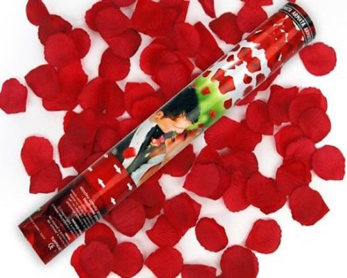 10 x Rosen Regen mit roten Rosenblättern 40cm Konfetti Kanone Shooter Hochzeit Konfettibome Partypopper