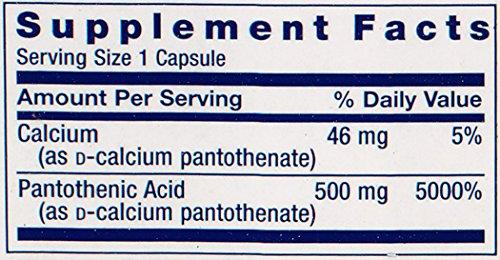 Pantothenic Acid Vitamin B5 500 mg 100 capsules