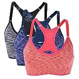 Vertvie 3er Pack Handsome Komfort Damen Leichter Halt Gepolsterter Push up Ohne Bügel Sport BH Bustier für Yoga Fitness-Training (EU M/Label L, Grau+Blau+Orange)