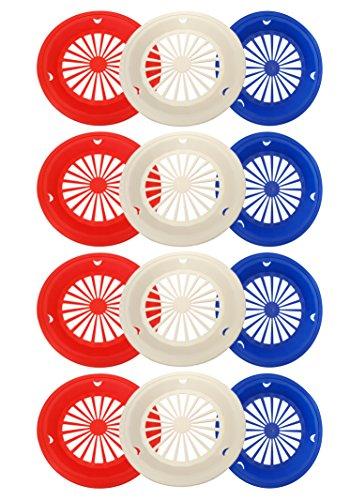 Set von 6Patriotische wiederverwendbar, Kunststoff Papier Teller Halter für 22,9cm Teller, rot weiß und blau Patriotische Farben, perfekt für 4. Juli, Grillabende, Partys, Camping Rot/Weiß/Blau