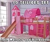 Hochbett Set »TOBY« mit Turm und Rutsche, Buche massiv klar lackiert