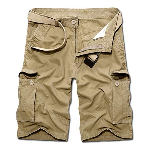 Aiserkly Herren Sommer Multi-Pocket Overalls Shorts Hose aus Reiner Baumwolle Cargo Kurze Freizeithose Arbeitshose - Wasserdichte Cargo
