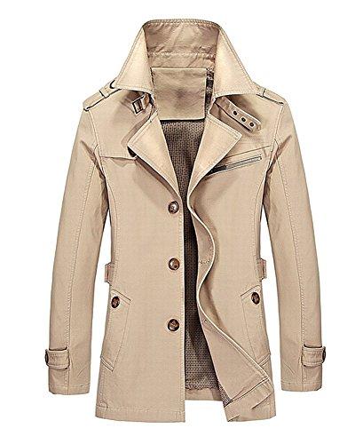 LaoZan Slim Fit Trench Coat Manica Lunga Cappotto Classico Giacca per Uomo 2XL Khaki