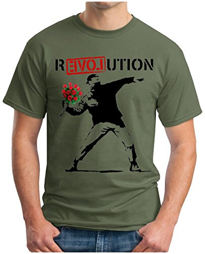 OM3 - Banksy R-EVOL-UTION - T-Shirt R-Love-UTION URBAN Street Art Peace Paix Punk Indie, XXL, Oliv