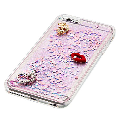 "MOONCASE iPhone 6S Plus Coque, Glitter Sparkle Bling [Owl] Faux Diamant Dessin Motif Liquide Étui Coque pour iPhone 6 Plus / 6S Plus 5.5"" Soft TPU Gel Souple Case Housse de Protection Or 04 Rose 02"