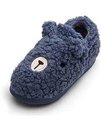 ChayChax Invierno Zapatillas de Casa para Mujer Hombre Niños Lindo Pantuflas de Casa Calentar Forro Felpa Zapatos de Algodón Interior Exterior