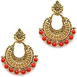 iKraft Oxidized German Gold Finish Chandbali Earrings with Red Beads Antique Chandelier Earrings for Women (Red)