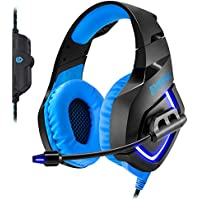 Empire Gaming H1100 – Gaming Headset for PC Virtual 7.1 Surround Sound, flexible microphone and earphones with Blue LED backlight. USB compatible PC and PS4/XBOX ONE consoles*