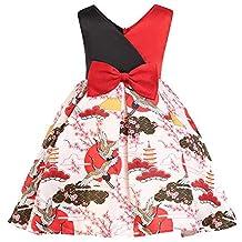 Vestido Niña POLP Vestido niñas Rojos 7 años Fiesta Elegantes Flores Boda Casual Mujer Verano sin