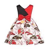 Niña Vestido POLP Vestido niñas Rojos 7 años Fiesta Elegantes Flores Boda Casual Mujer Verano sin Mangas Vestido Niña Gasa Vestir Ropa Falda Chaleco Camisetas Sexy Plus Size 1PC (2Red, 4 años)