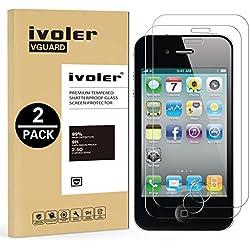 iVoler [Pack de 2] Verre Trempé pour iPhone 4S / iPhone 4 [Garantie à Vie], Film Protection en Verre trempé écran Protecteur vitre (0,3mm HD Ultra Transparent)