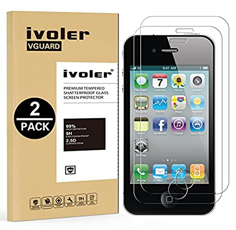 [2-Pack] iPhone 4 / 4S Protection écran , iVoler® Film Protection d'écran en Verre Trempé Glass Screen Protector Vitre Tempered pour Apple iPhone 4 / 4S - Dureté 9H, Ultra-mince 0.30 mm, 2.5D Bords Arrondis- Anti-rayure, Anti-traces de doigts,Haute-réponse, Haute transparence- Garantie de Remplacement de 18