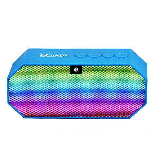 Ecandy Mini Led Altavoz Bluetooth incorporado 800mAh libre manos 18650 llamando Micrófono FM / TF / USB Soporte Ultra Altavoces inalámbricos portátiles funciona para Iphone, Ipad Mini, ipad 4/3/2, iTouch, Samsung, LG, Motorola, HTC, Nexus y otros teléfonos inteligentes (azul)