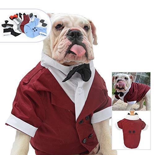 lovelonglong Hunde Schwarzer Smoking-Anzug Kostüme Party Formellen Anzug mit Schwarzer Fliege für Kleine, Mittelgroße, Großer Hunde, Bulldogge Kostüme Red-Brown B-S -