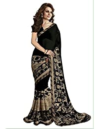 Macube Women's Georgette Printed Saree With Blouse Piece - MS254_25_Black And Beige_Free Size