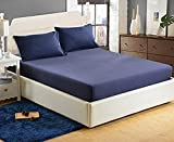 #9: Linenwalas 300TC 100% Cotton Wider King Size Fitted Bedsheet with 2 Pillow Covers - Solid Plain - Royal Blue - 75