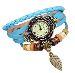 Beyondfashion Ladies Fashion Quartz Weave Wrap Around Leather Bracelet Wrist Watch - Navy