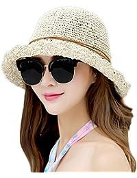 93012414359 Westeng Sun Hat Bucket Girls Lady Beach Straw Hat Summer Sun Protection  Packable Foldable Cap Bow