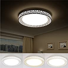 Rishil World 24W Dimmable LED Ceiling Light Round Chandelier Lamp for Living Room Hall Kitchen AC220V