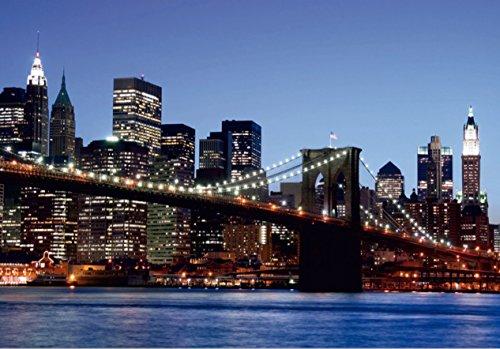 AG Design FTS 0107  Brooklyn Bridge New York, Papier Fototapete - 360x254 cm - 4 teile, Papier, multicolor, 0,1 x 360 x 254 cm (Bridge Design Kinder)