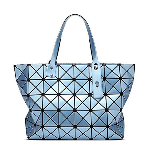 Strawberryer Sacs à bandoulière en cuir femmes Sacs à main géométriques Pliage en sac fourre-tout,Light blue-43*28cm
