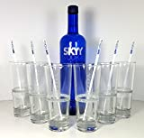 Skyy Vodka Set –Skyy Vodka 70cl (40% Vol) + 6x Longdrink Gläser 2/4cl geeicht + 6x Stirrer