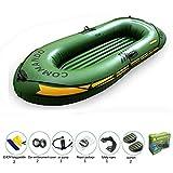 Barco Inflable De 3 Personas Con Remos De Aluminio Y Bomba De Aire De Alto Rendimiento (Último Modelo) Para El Deporte Acuático Al Aire Libre De Verano Verde Militar,XL