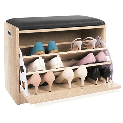 HOMFA Zapatero con Asiento Armario con banco para zapatos 3 Estantes Roble 60x30x45cm
