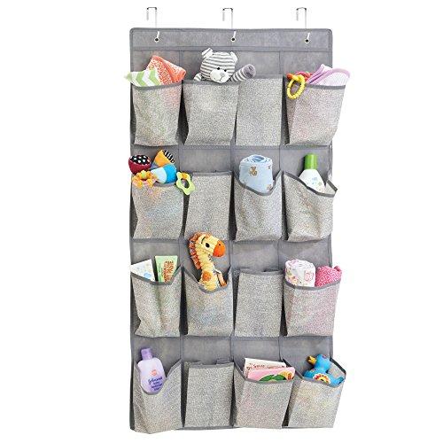 Mdesign organizzatore armadio con 16 tasche – portaoggetti in stoffa da appendere in polipropilene traspirante – portabiancheria appendibile per tutta la casa – grigio talpa/beige