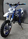 Mini Pitbike con motor de 49cc de 2 tiempos, XTM TEAM cross. Mini dirt bike. Moto de mini cross (Azul)
