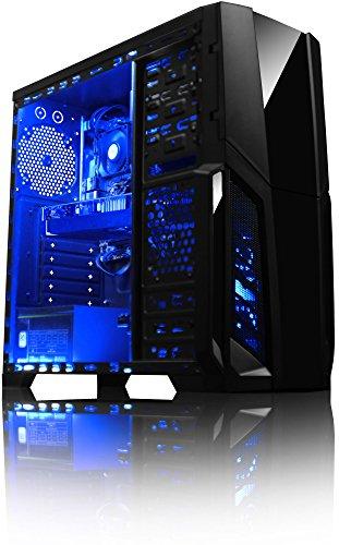 VIBOX Pyro GS460-1 PC Gamer - 4,0GHz CPU AMD FX 4-Core, GTX 1060, VR prêt, Ultime, Avancée, Haute Performance, Ordinateur PC de Bureau Gaming paquet de jeux, unité centrale, Éclairage Interne Bleu (3,8GHz (4,0GHz Turbo) Processeur CPU Quad Core AMD FX 4300 Ultra Rapide, Carte Graphique Nvidia GeForce GTX 1060 3 Go, 8 Go Mémoire RAM DDR3 1600MHz Grande Vitesse, Disque Dur Sata III 7200rpm 1 To (1000 Go), PSU 85+, Boîtier Gamer CIT Storm Bleu, DVD-RW, Pas de Système d'Exploitation Windows)