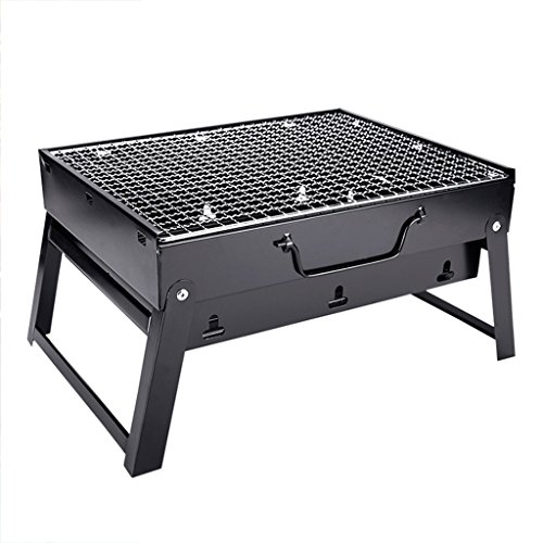 YONG@ Barbecue extérieur pliant à la maison de charbon de bois Portable Grill grand champ voiture Camping BBQ Set 3-5 personnes ( Couleur : Noir )