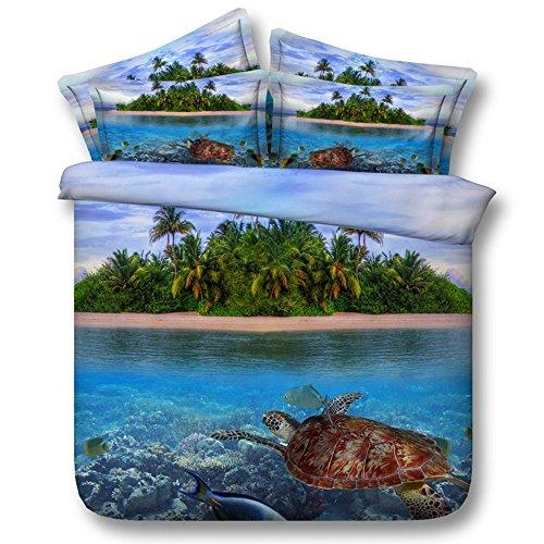 Bettwäsche Tier Schildkröte Druckmuster Bettbezug und Kissenbezug, Einzelbett Bettwäscheset 135x200cm Blau (König Bettbezug Bettwäsche-set)