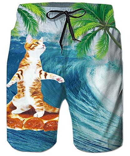 Jungen Swim Trunk (ALISISTER Badeshorts 3D Katze Badehose Herren Jungen Druck Schwimmen Surf Shorts Hawaii Sporthose Strand Surf Swim Trunks mit Seitentaschen XXL)